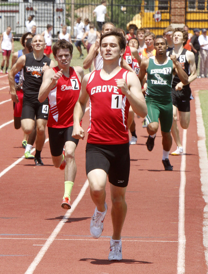 Grove's Ryan Wheatley heads toward the finish line to win the boy's 5A 800 meter race during the 5A and 6A State Track Meet in Yukon, OK, Saturday, May 11, 2013,  By Paul Hellstern, The Oklahoman
