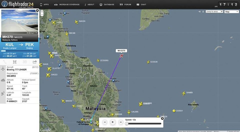 Photo - This screengrab from flightradar24.com shows the last reported position of Malaysian Airlines flight MH370, Friday night March 7, 2014. The Boeing 777-200 carrying 239 people lost contact over the South China Sea on a flight from Kuala Lumpur to Beijing, and international aviation authorities still hadn't located the jetliner several hours later. (AP Photo/flightradar24.com)