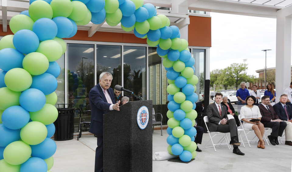Photo -  Former City Councilman Pete White speaks at the opening of the Pete White Health & Wellness Center. [PHOTO BY JIM BECKEL, THE OKLAHOMAN]