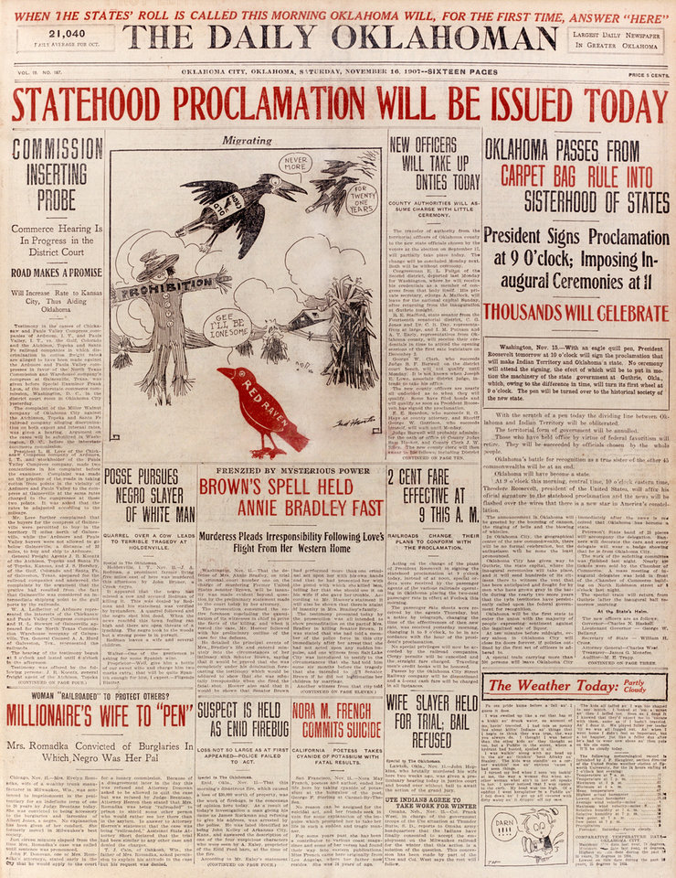 Photo -  The front page of The Daily Oklahoman foretold of the statehood proclamation. Oklahoma was to become the 46th state.