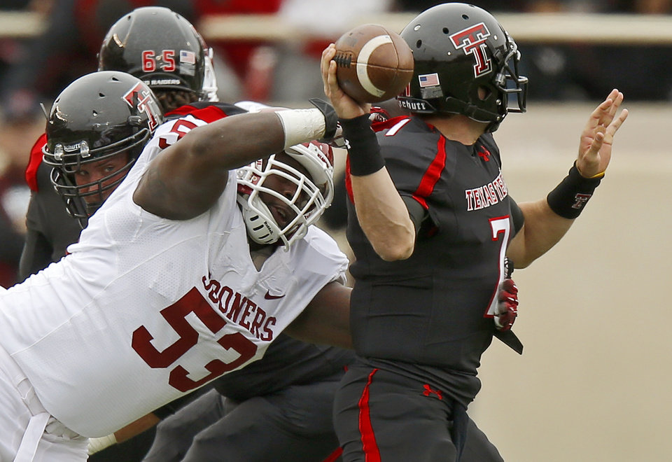 Oklahoma\'s Casey Walker (53) puts pressure on Texas Tech\'s Seth Doege (7) during a college football game between the University of Oklahoma (OU) and Texas Tech University at Jones AT&T Stadium in Lubbock, Texas, Saturday, Oct. 6, 2012. Oklahoma won 41-20. Photo by Bryan Terry, The Oklahoman