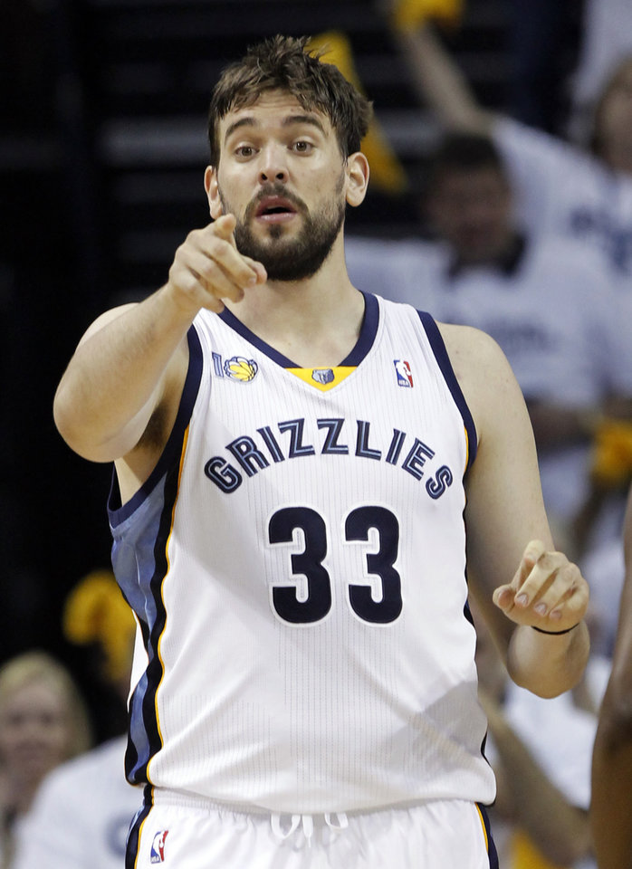 Memphis Grizzlies center Marc Gasol, of Spain, talks to a teammate during the first half of Game 4 against the Oklahoma City Thunder in a second-round NBA basketball playoff series on Monday, May 9, 2011, in Memphis, Tenn. (AP Photo/Lance Murphey)