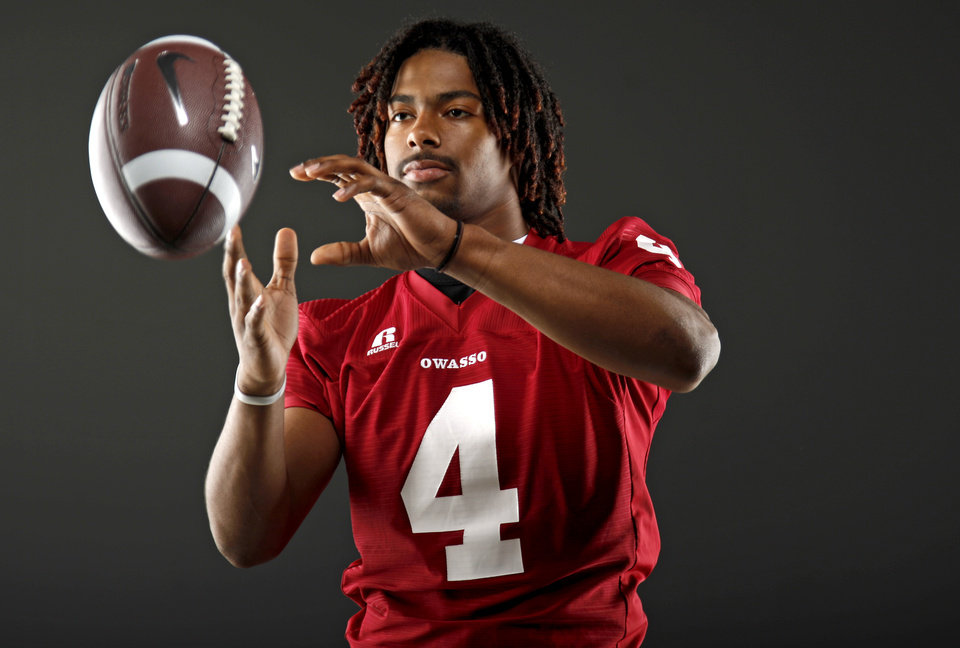 All-State football player Keon Hatcher, of Owasso, poses for a photo in Oklahoma CIty, Wednesday, Dec. 14, 2011. Photo by Bryan Terry, The Oklahoman