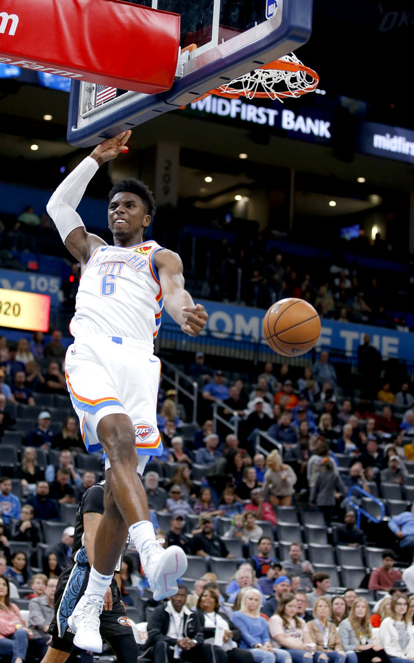 Photo - Oklahoma City's Hamidou Diallo (6) reacts after a dunk during the NBA preseason game between the Oklahoma City Thunder and the New Zealand Breakers at the Chesapeake Energy , Thursday, Oct. 10, 2019. [Sarah Phipps/The Oklahoman]
