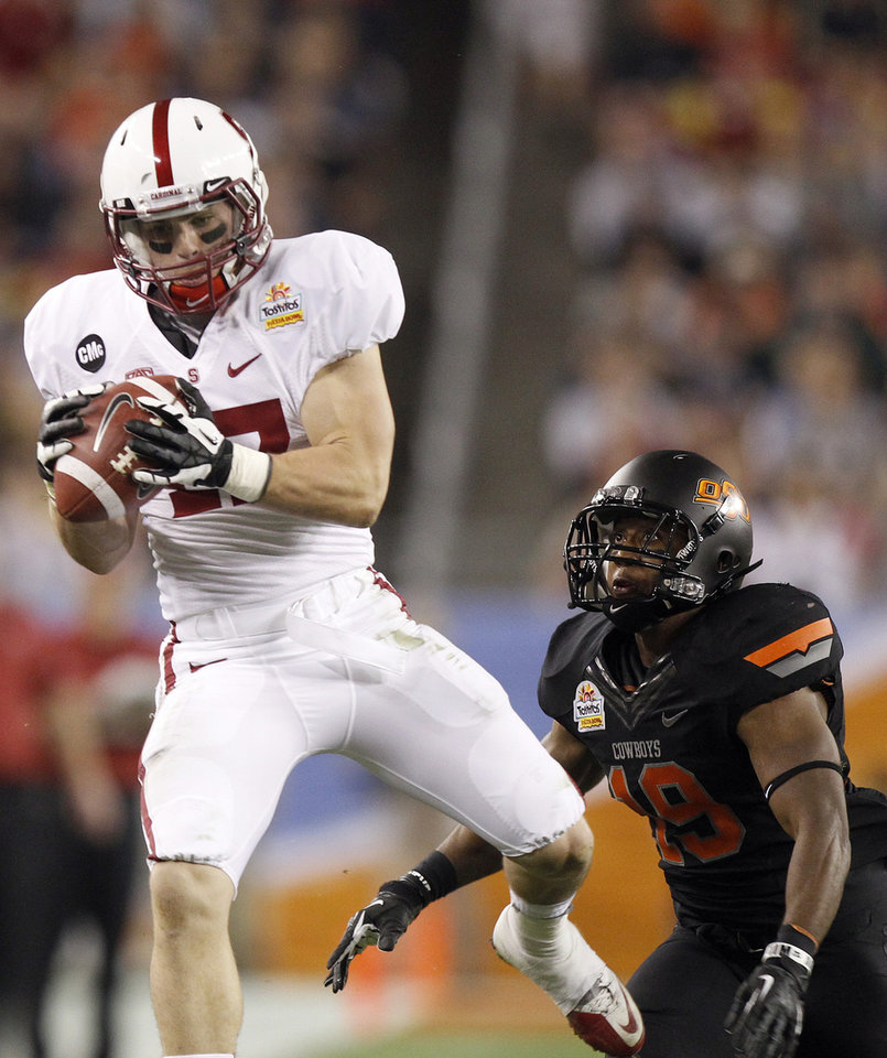 Stanford wide receiver Griff Whalen, left, makes a reception in front of Oklahoma State cornerback Brodrick Brown, right, to set up a Stanford touchdown during the first half of the Fiesta Bowl NCAA college football game Monday, Jan. 2, 2012, in Glendale, Ariz. (AP Photo/Paul Connors)