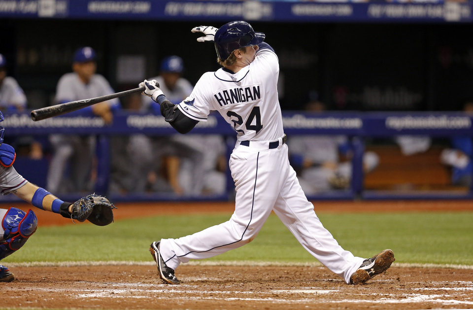 Photo - Tampa Bay Rays' Ryan Hanigan follows through on a three-run home run during the fifth inning of a baseball game against the Texas Rangers on Friday, April 4, 2014, in St. Petersburg, Fla. (AP Photo/Mike Carlson)