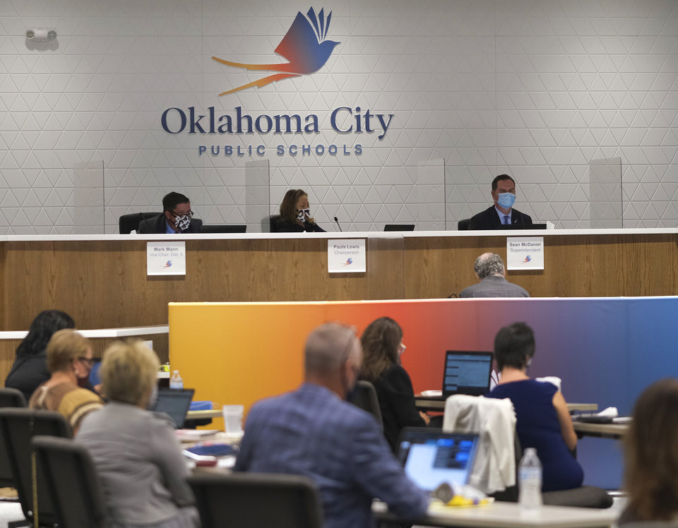 Photo - The first live Oklahoma City School Board meeting in the new Clara Luper Center for Educational Services, Monday, November 9, 2020. [Doug Hoke/The Oklahoman]