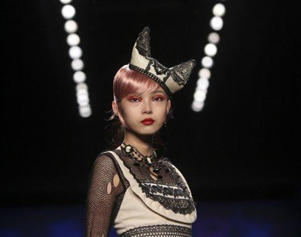 Photo - A model wears a design from Anna Sui's Spring 2013 collection during Fashion Week in New York, Wednesday, Sept. 12, 2012.  (AP Photo/Seth Wenig)