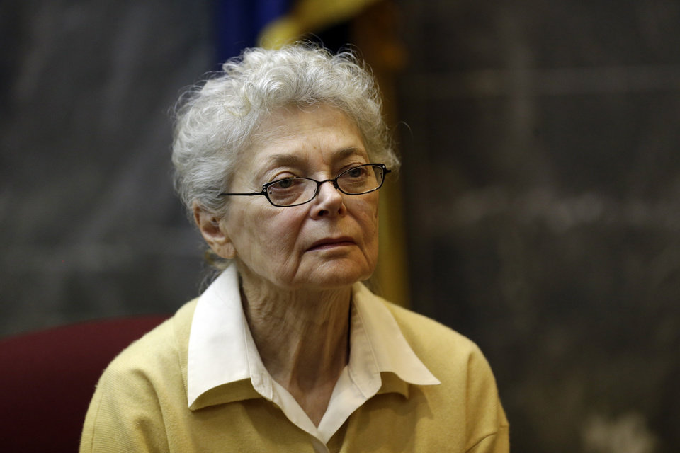 Photo - In this March 13, 2013 file photo, Sandra Layne testifies in the Oakland County Circuit Court in Pontiac, Mich. The 75-year-old Detroit-area woman was convicted of second-degree murder on Tuesday, March 19, 2013, for shooting her 17-year-old grandson six times during an argument last spring.  (AP Photo/Paul Sancya, file)