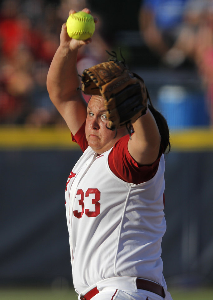 Alabama's Jackie Traina (33) pitches during a Women's College World Series game between OU and Alabama at ASA Hall of Fame Stadium in Oklahoma City, Monday, June 4, 2012.  Photo by Garett Fisbeck, The Oklahoman