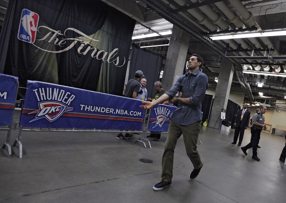 Nick Collison walks into the arena before the start of Game 1 of the NBA Finals between the Oklahoma City Thunder and the Miami Heat at Chesapeake Energy Arena in Oklahoma City, Tuesday, June 12, 2012. Photo by Chris Landsberger, The Oklahoman
