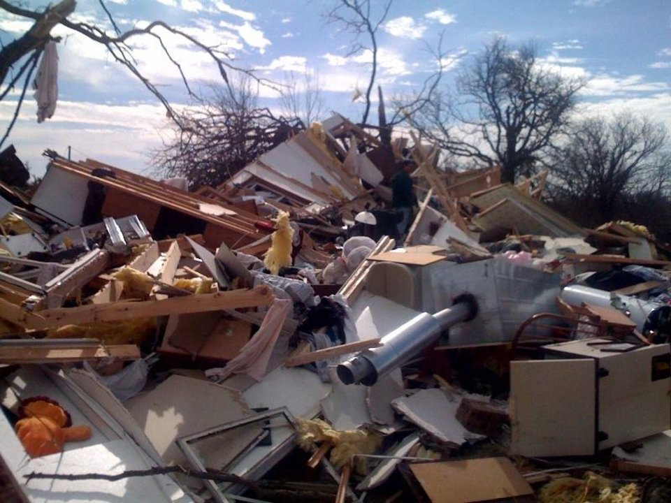 Photo - Damage in Lone Grove on Thursday Feb. 12, 2009. Photo by Johnny Johnson.