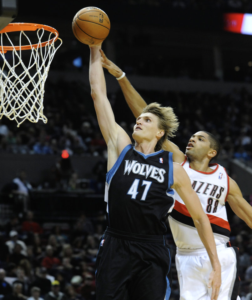 Photo -   Minnesota Timberwolves' Andrei Kirilenko (47) goes to the basket against Portland Trail Blazers' Nicolas Batum (88) during the first half of an NBA basketball game in Portland, Ore., Friday, Nov. 23, 2012. (AP Photo/Greg Wahl-Stephens)