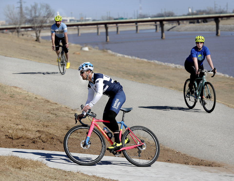 Photo - The 8-mile urban pathway between Lake Hefner and the Oklahoma River is wide, smooth and inviting. [PHOTO BY JIM BECKEL, THE OKLAHOMAN]
