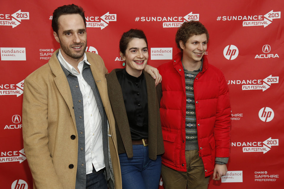 Photo - Director Sebastian Silva, left, actress Gaby Hoffmann, center, and actor Michael Cera, right, pose at the premiere of