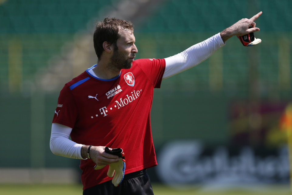 Czech Republic's Petr Cech gestures during a training session of Czech Republic at the soccer Euro 2012 in Wroclaw, Poland, Monday, June 18, 2012. (AP Photo/Petr David Josek)