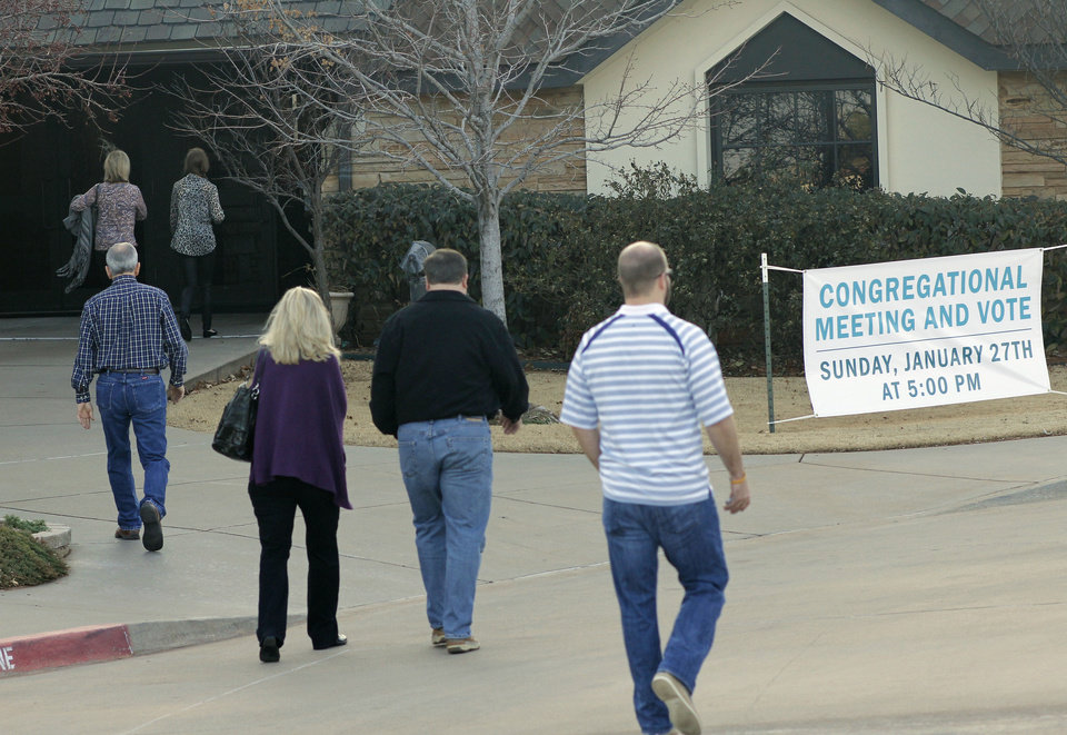 Photo - Members of First Presbyterian Church of Edmond arrive at the church, 1001 S Rankin, Sunday for a congregational vote to decide if the church will leave the Presbyterian Church (USA).   DOUG HOKE - THE OKLAHOMAN