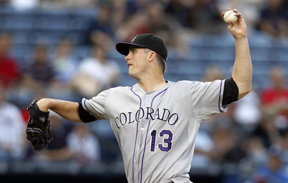 Photo -   Colorado Rockies starting pitcher Drew Pomeranz works in the first inning of a baseball game against the Atlanta Braves on Tuesday, Sept. 4, 2012, in Atlanta. (AP Photo/John Bazemore)