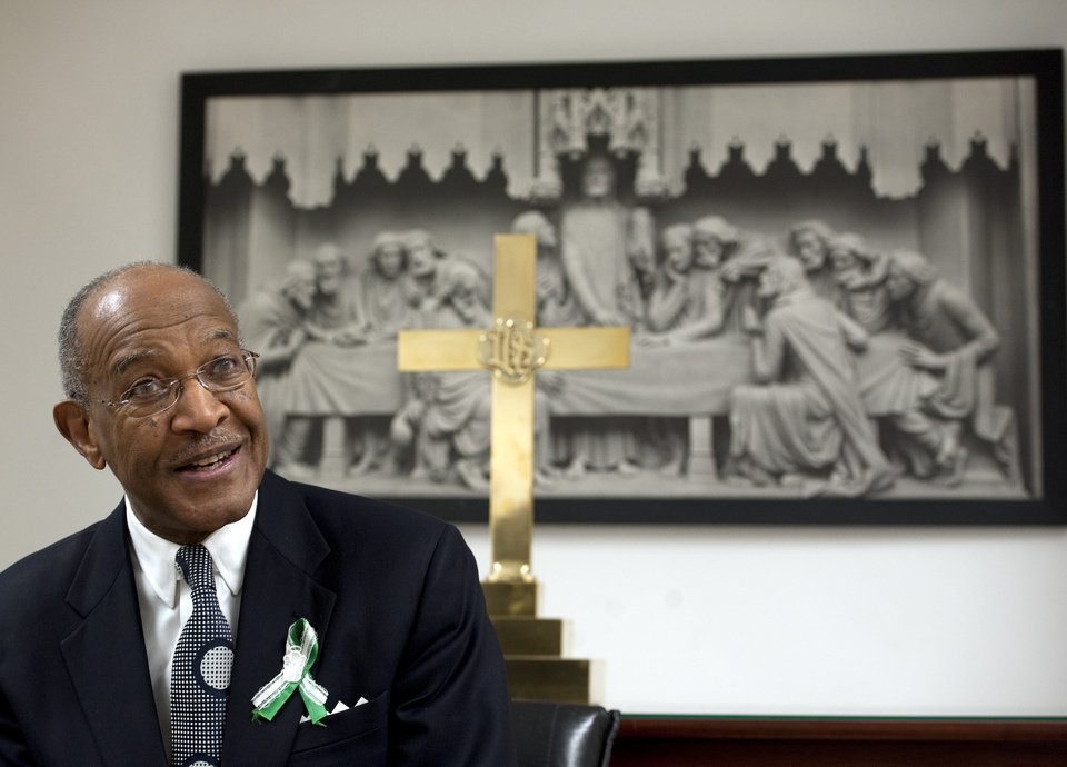 The Rev. James A. Forbes Jr. is interviewed before a sermon at Newtown Congregational Church in Newtown, Conn., Sunday, Jan. 20, 2013. Forbes, who led one of the country's most prominent liberal Protestant churches, is speaking in Newtown to honor the victims of last month's school shooting and the legacy of the Rev. Martin Luther King Jr. (AP Photo/Jessica Hill)