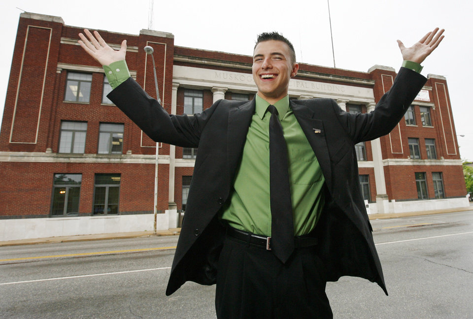 19-year-old mayor-elect of Muskogee, John Tyler Hammons, poses for a photo at the Muskogee Municipal Building in downtown Muskogee, Okla., Wednesday, May 14, 2008. BY NATE BILLINGS, THE OKLAHOMAN