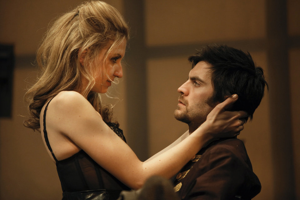 "In this theater publicity image released by The Publicity Office, Nina Arianda, left, and Wes Bentley are shown in a scene from David Ives' ""Venus in Fur,"" playing off-Broadway at the Classic Stage Company in New York. The production was nominated for a Tony Award for best play, Tuesday, May 1, 2012. (AP Photo/The Publicity Office, Joan Marcus)"