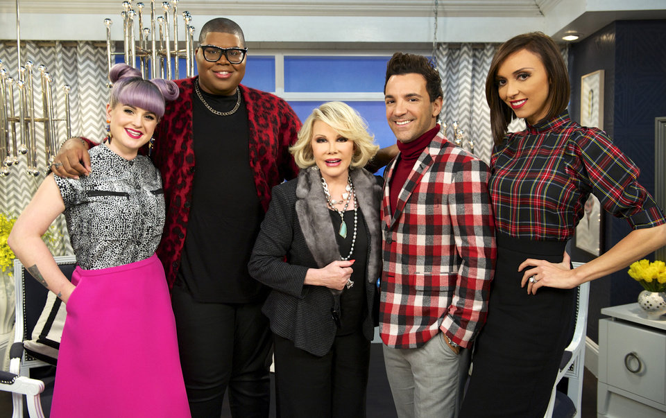 Photo - This image released by E! Entertainment shows, from left, Kelly Osbourne, EJ Johnson, Joan Rivers, George Kotsiopoulos, and Giuliana Rancic on the set of