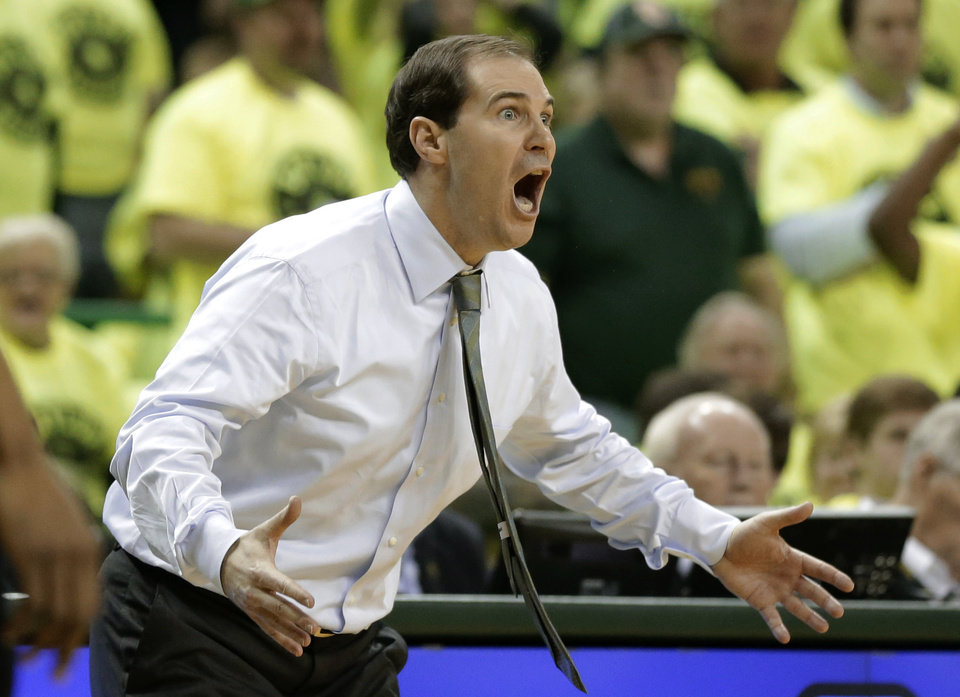 Baylor head coach Scott Drew reacts to a call against his team in the first half of an NCAA college basketball game against Kansas State, Saturday, March 2, 2013, in Waco, Texas. (AP Photo/Tony Gutierrez)