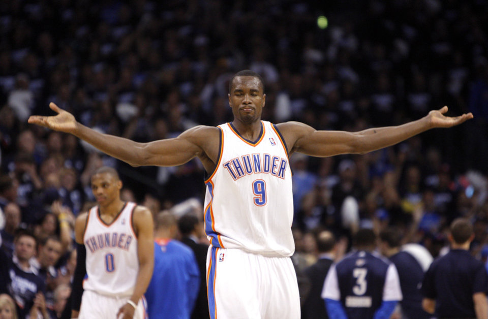 Oklahoma City's Serge Ibaka (9) reacts after making a block during the NBA basketball game between the Denver Nuggets and the Oklahoma City Thunder in the first round of the NBA playoffs at the Oklahoma City Arena, Wednesday, April 27, 2011. Photo by Sarah Phipps, The Oklahoman