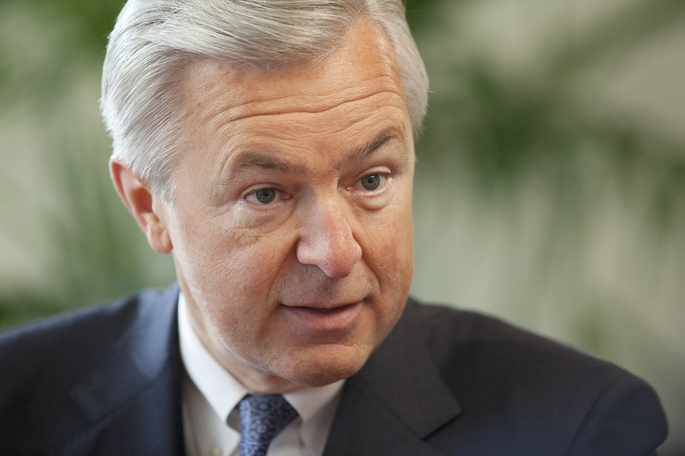 In this Monday, Dec. 3, 2012, photo, John Stumpf, Chairman, President and CEO of Wells Fargo, talks during an interview, in New York. Stumph, one of the few CEOs who kept his job as peers fell after the 2008 financial crisis, is a strategist who expanded his company while others shrank theirs. Stumph says Wells Fargo\'s vanilla business model of making loans and taking deposits has kept it above the fray while exotic derivatives and other risky practices have bludgeoned rivals. (AP Photo/Mark Lennihan)