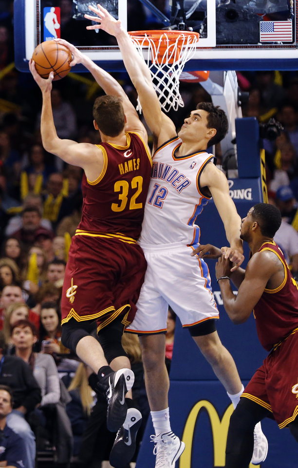 Photo - during the NBA basketball game between the Oklahoma City Thunder and the Cleveland Cavaliers at the Chesapeake Energy Arena in Oklahoma City, Okla. on Wednesday, Feb. 26, 2014.  Photo by Chris Landsberger, The Oklahoman