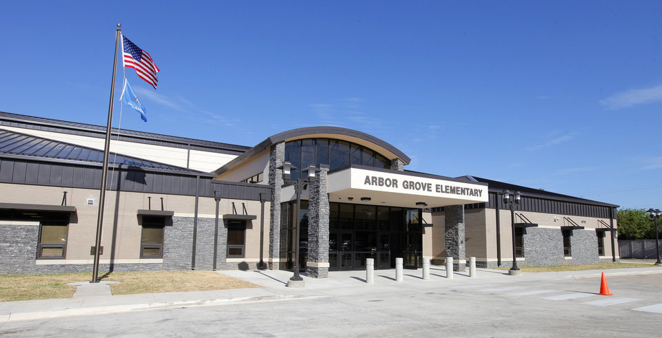 Photo -  The entrance to Arbor Grove Elementary School in the Putnam City School District is shown. Photo by Paul B. Southerland, The Oklahoman   PAUL B. SOUTHERLAND -