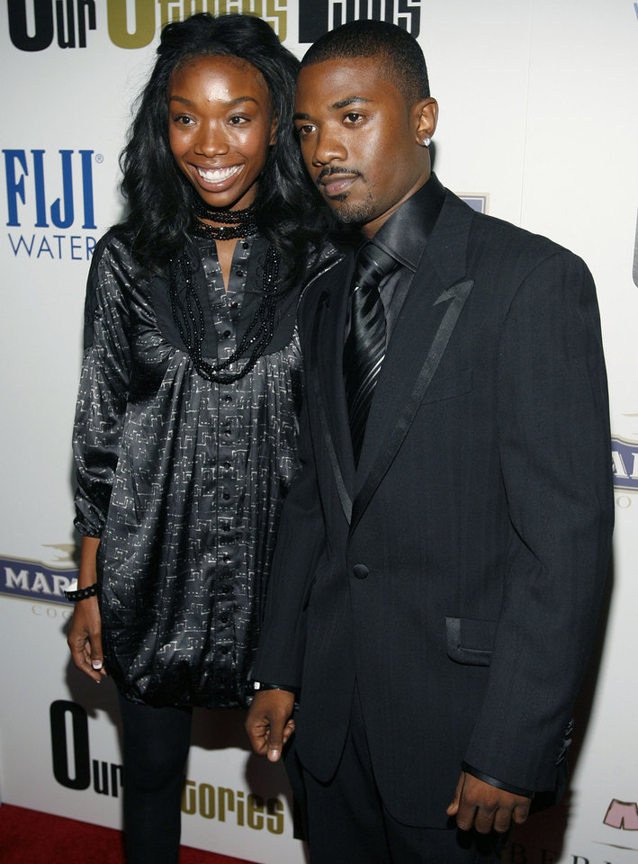 Singer Brandy, left, and her brother, singer Ray J., arrive at the Our Stories Films launch party in the Hollywood section of Los Angeles on Tuesday, Oct. 10, 2006. (AP Photo/Matt Sayles) ORG XMIT: CAMW111
