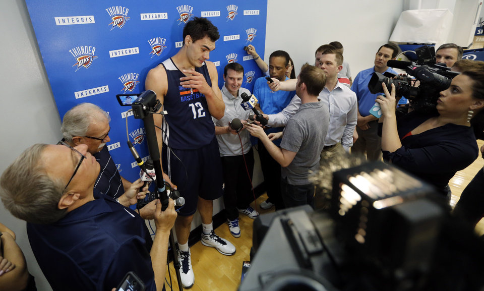 Photo - Steven Adams speaks during media access after the practice of the Oklahoma City Thunder on Friday, May 2, 2014 in Oklahoma City, Okla..  Photo by Steve Sisney, The Oklahoman