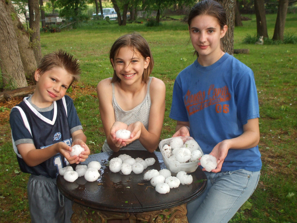 Ben, Emily, & Catherine Roberts at home in Midwest City found many large hail stones.<br/><b>Community Photo By:</b> Gabrielle Roberts<br/><b>Submitted By:</b> gabrielle, Midwest City