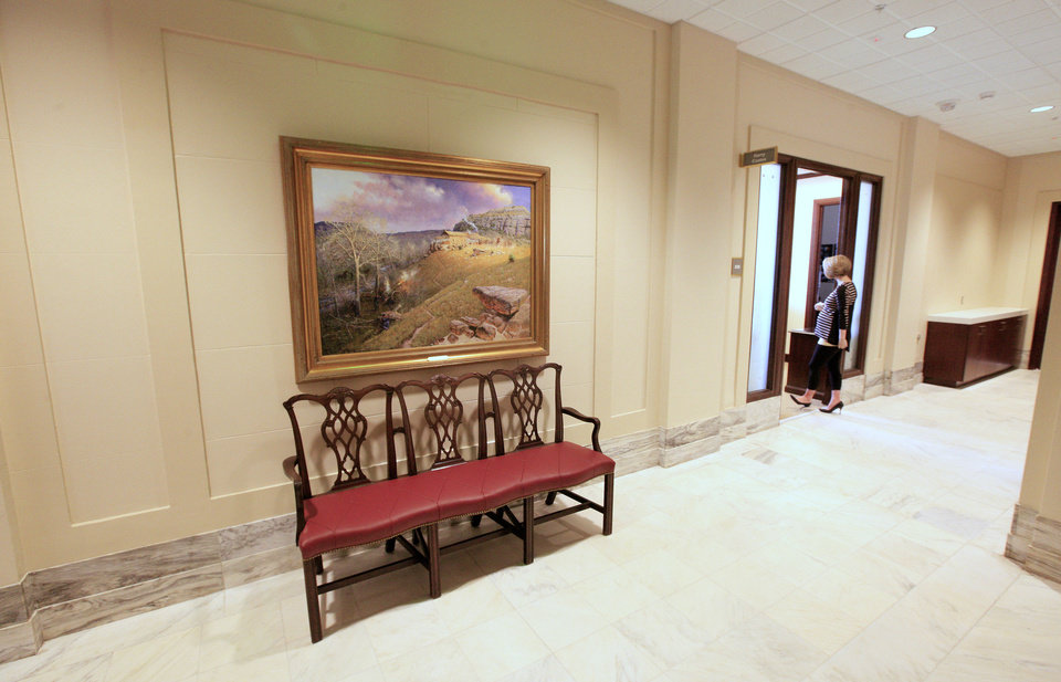 Photo - A 2nd floor area of the state Capitol that formerly housed state  Court of Criminal Appeals offices has been renovated into new Senate offices. The painting is