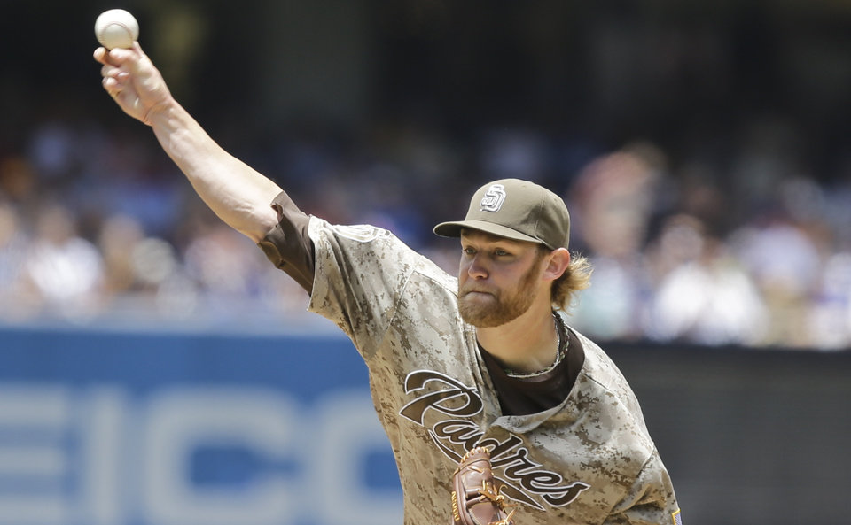 Photo - San Diego Padres starting pitcher Andrew Cashner throws against the Los Angeles Dodgers in the first inning of a baseball game in San Diego, Sunday, June 23, 2013. (AP Photo/Lenny Ignelzi)