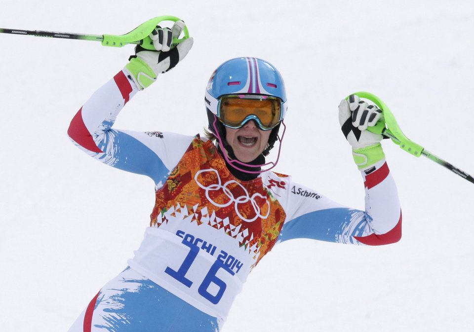 Photo - Austria's Nicole Hosp reacts after finishing the slalom portion of the women's supercombined at the Sochi 2014 Winter Olympics, Monday, Feb. 10, 2014, in Krasnaya Polyana, Russia. (AP Photo/Gero Breloer)