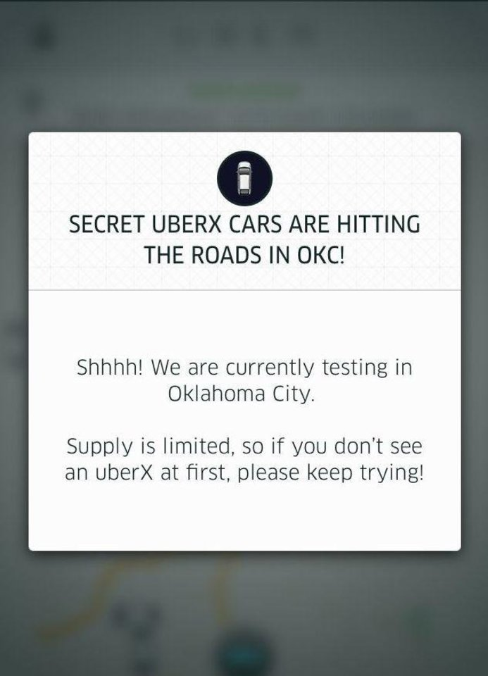 Photo - This screenshot from the Uber smart phone application lets users know the ridesharing service has arrived in Oklahoma City.