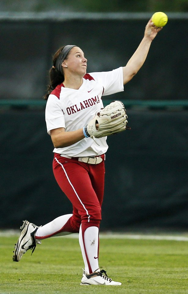 Photo - OU's Callie Parsons (12) throws back to 1st base during an NCAA softball game between OU and Marist in the Oklahoma Regional in Norman, Okla., Friday, May 17, 2013. Oklahoma won 17-0 in 5 innings. Photo by Nate Billings, The Oklahoman