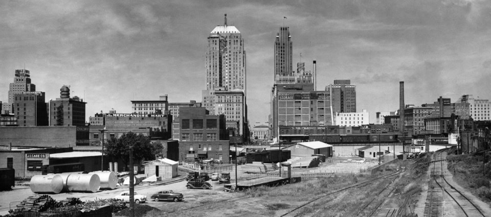 OKLAHOMA CITY / SKY LINE / OKLAHOMA: No caption. Staff photo by A. Y. Owen. Photo dated 06/14/1950 and unpublished. Photo arrived in library on 06/23/1950.