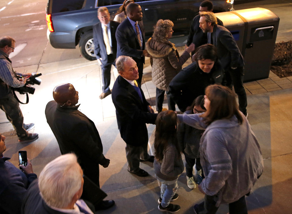 Photo - Democratic presidential candidate Mike Bloomberg talks with supporters after a visit to the Oklahoma City National Memorial & Museum before a campaign rally in Oklahoma City, Saturday, Feb. 8, 2020.  [Sarah Phipps/The Oklahoman]