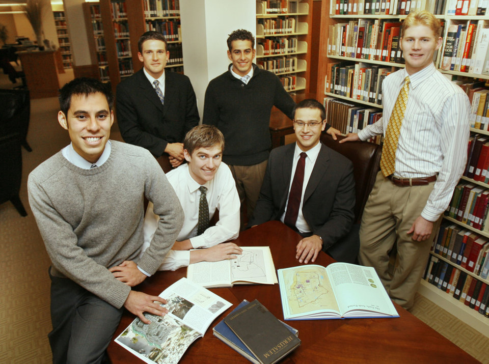Photo - These Herbert W. Armstrong College students, who went on archeological dig in Israel, pose for a photo at the college in Edmond, OK, Monday, Dec. 15, 2008. Seated in center are Brandon Nice (left) and Edwin Trebels, and standing are Victor Vejil, John Rambo, Jeremy Cocomise, and Brent Nagtegaal. BY PAUL HELLSTERN, THE OKLAHOMAN ORG XMIT: KOD