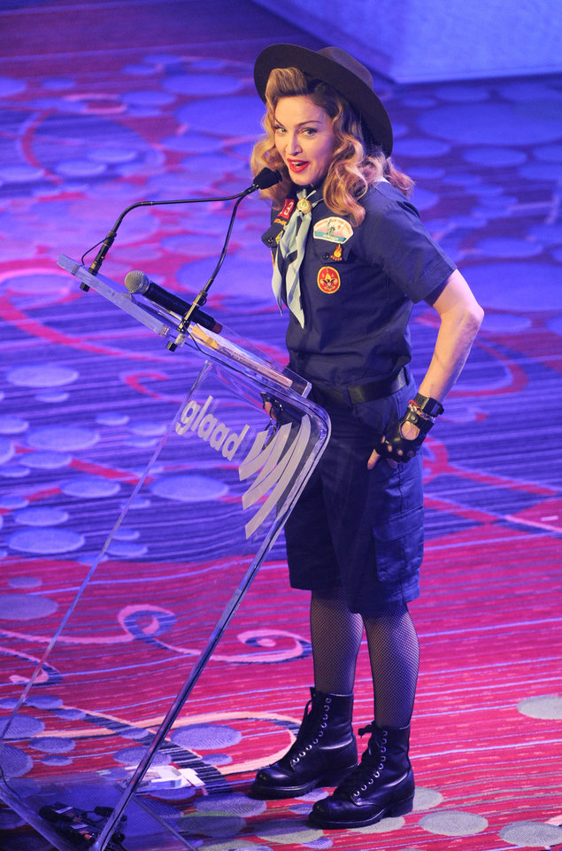 Photo - Madonna addresses the audience at the 24th Annual GLAAD Media Awards at the Marriott Marquis on Saturday March 16, 2013 in New York. Madonna presented CNN news anchor Anderson Cooper with the Vito Russo Award. (Photo by Evan Agostini/Invision/AP)