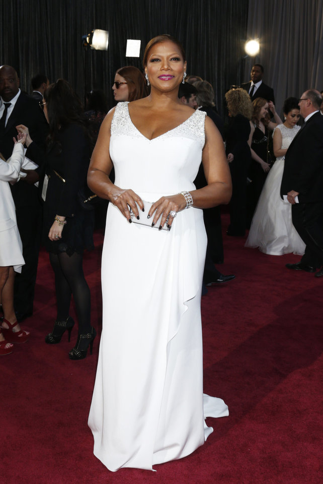 Queen Latifah arrives at the Oscars at the Dolby Theatre on Sunday Feb. 24, 2013, in Los Angeles. (Photo by Todd Williamson/Invision/AP)