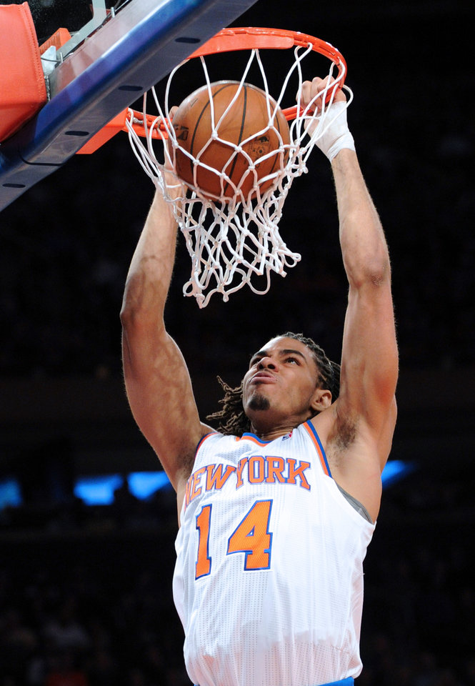 New York Knicks\' Chris Copeland dunks the ball during the second quarter of an NBA basketball game against the Portland Trail Blazers, Tuesday, Jan. 1, 2013, at Madison Square Garden in New York. (AP Photo/Bill Kostroun)