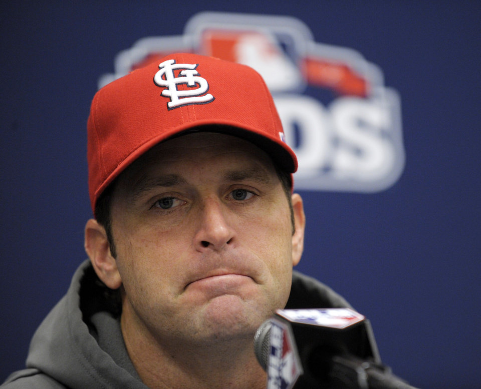 St. Louis Cardinals baseball manager Mike Matheny meets with reporters during a baseball news conference at Nationals Park in Washington, Tuesday, Oct. 9, 2012. The Cardinals take on the Washington Nationals on Wednesday in Game 3 of the National League division series. The best-of-five games series is tied 1-1. (AP Photo/Susan Walsh)