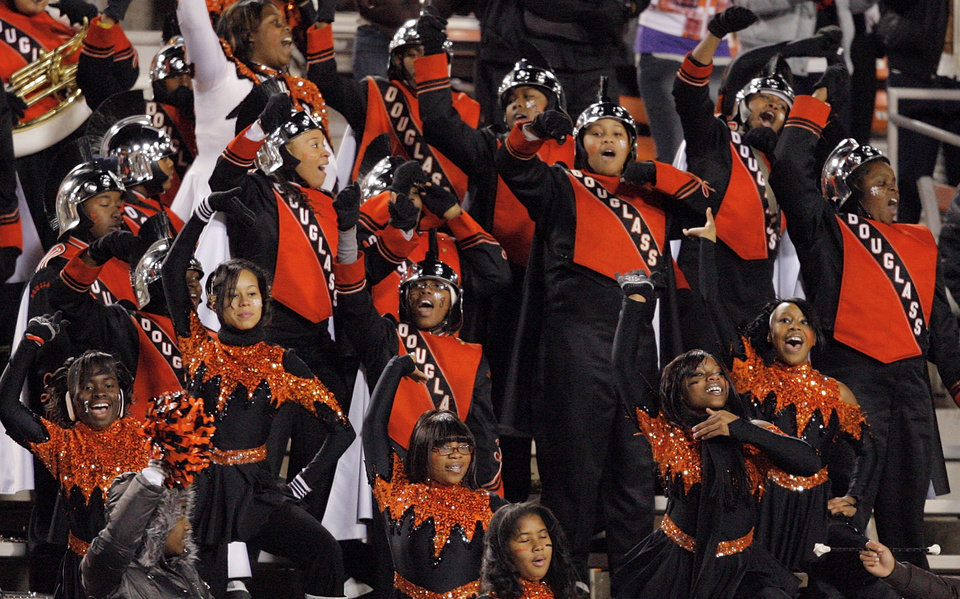 Photo - The Douglass band entertains the crowd during the Class 4A high school football state championship game between Star Spencer and Douglass at Boone Pickens Stadium in Stillwater, Okla., Saturday, December 5, 2009. Photo by Nate Billings, The Oklahoman
