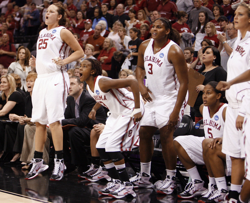 Whitney Hand, Danielle Robinson and Courtney Paris cheer from the bench in the second half of the NCAA women's basketball tournament game between the University of Oklahoma and Pittsburgh at the Ford Center in Oklahoma City, Okla. on Sunday, March 29, 2009. 
