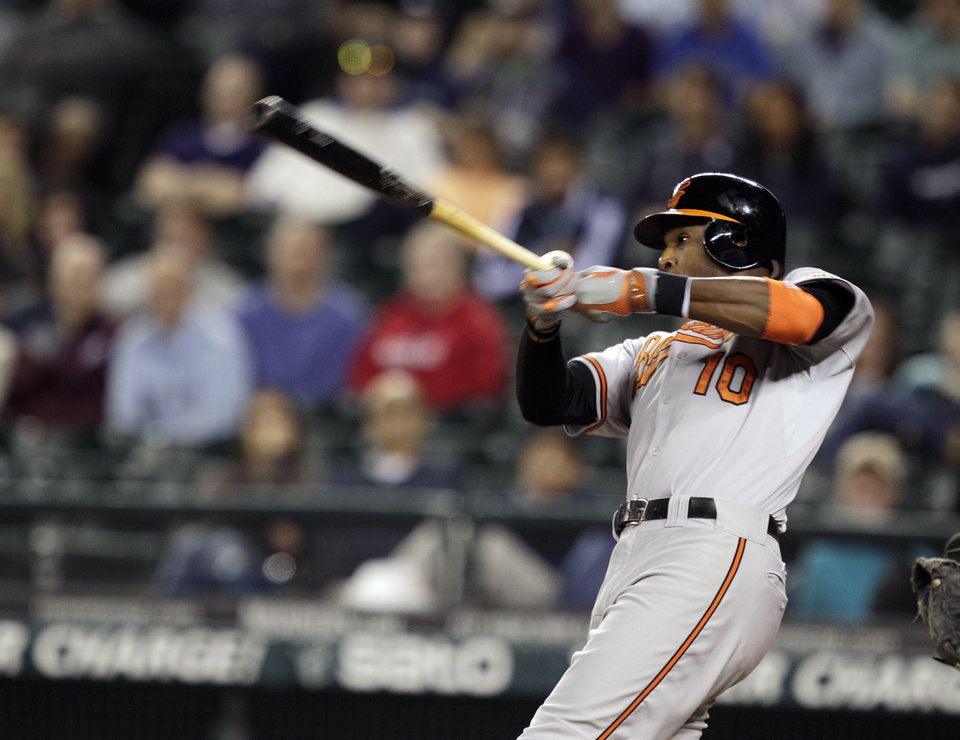 Photo -   Baltimore Orioles' Adam Jones hits a two-run home run in the 11th inning of a baseball game against the Seattle Mariners, Wednesday, Sept. 19, 2012, in Seattle. (AP Photo/Ted S. Warren)