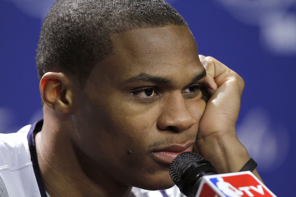 Oklahoma City's Russell Westbrook listens to a question during a press conference for Game 3 of the NBA Finals between the Oklahoma City Thunder and the Miami Heat at American Airlines Arena in Miami, Saturday, June 16, 2012. Photo by Bryan Terry, The Oklahoman